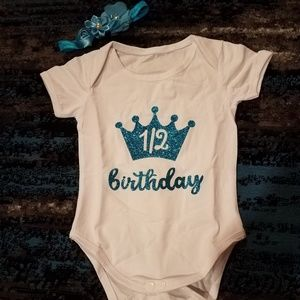 NWOT 1/2 (Half) Birthday 6mo Crown Baby Onesie
